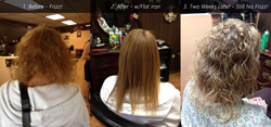 See the video and actual before and after photos of Chi Enivro hair smoothing treatments